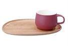 金時代書香咖啡 KINTO FIKA Cafe 輕食木製杯盤組 莓紅色 KINTO-22580-RD
