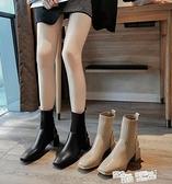 連襪靴女2021新款秋冬季方頭粗跟單靴顯瘦針織彈力短靴中跟馬丁靴 夏季新品