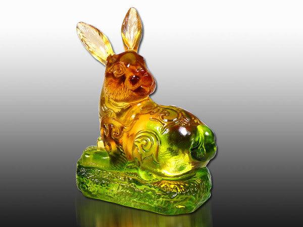 鹿港窯-居家開運商品-琉璃S十二生肖文鎮【兔】附精美包裝◆免運費送到家