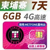 柬埔寨 7天 6GB高速上網 支援4G高速