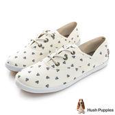 Hush Puppies 風和日麗咖啡紗帆布鞋-米白