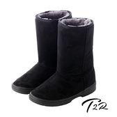 【韓國T2R】秋冬韓系女孩必備經典款內裡毛茸茸雪靴 內增高↑7cm 黑 5500-0617(原裝進口)