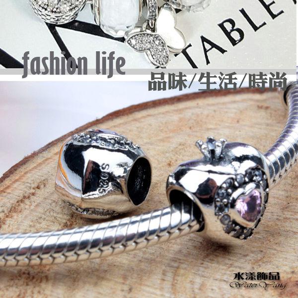 純銀公主之心 鑽石串珠  DIY手鏈串珠配件