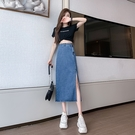 VK精品服飾 韓國風修身開叉下擺牛仔半身裙長版單品短裙