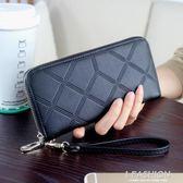 歐美長款拉鍊包女士大容量方格錢包男式手拿包復古皮夾手機零錢包 Ifashion