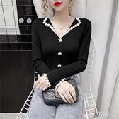蕾絲毛衣 秋季時尚韓版修身顯瘦珍珠蕾絲V領毛衣針織衫上衣女長袖 芊墨左岸