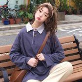 春裝女裝韓版寬鬆個性撞色翻領長袖Polo領上衣學生休閒打底衫T恤 優家小鋪