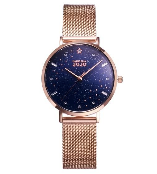 NATURALLY JOJO 銀河系 JO96976-55R 玫瑰金米蘭帶 / 深藍