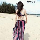水母衣 性感比基尼三件套小胸聚攏遮肚顯瘦韓國小香風分體溫泉游泳衣女  野外之家DF