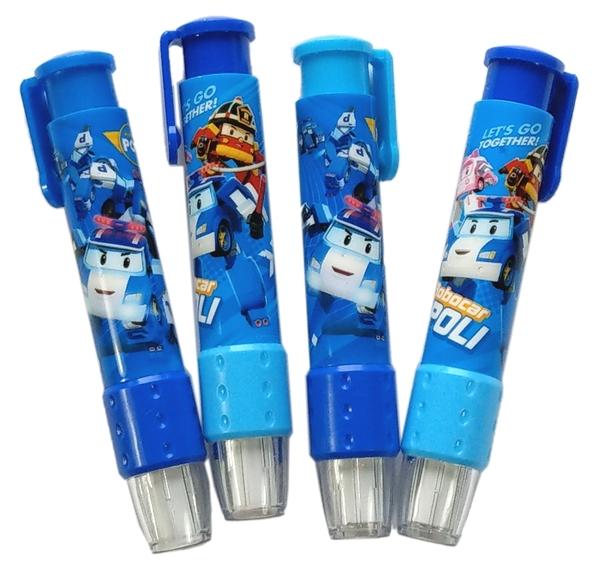 【卡漫城】 Poli 自動 橡皮擦 二入組 ㊣版 按壓式 擦子 擦布 台灣製 文具 波力 卡通 救援小英雄