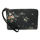 【COACH】PVC皮革花卉手拿零錢包(花卉黑)