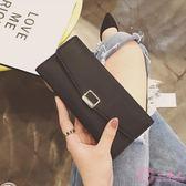 長夾 錢夾女長款2017新款韓版薄款搭扣三折簡約PU錢包大容量卡包零錢包 一次元