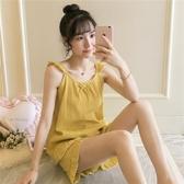 睡衣女夏季純棉甜美性感吊帶背心薄款韓版可愛學生可外穿兩件套裝