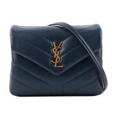 【YSL】Monogram Lou Lou V紋小牛皮斜背包/方胖包(MINI)(藍) 467072 DV707 4207
