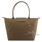 茱麗葉精品【全新現貨】Longchamp COLLECTION 刺繡奔馬折疊長把肩包.墨綠 #1899