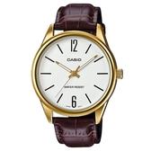 CASIO 經典商務型男指針真皮腕錶-混合數字白面(MTP-V005GL-7B)