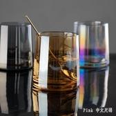 網紅水杯子女玻璃ins風家用透明可愛北歐創意簡約啤酒威士忌酒杯 FF5380【Pink 中大尺碼】