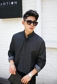 找到自己】韓國 無領襯衫 牛仔 襯衫外套 立領襯衫 落肩 牛仔 上衣 單寧 黑牛 藍色兩色