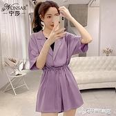連身褲 寧莎2020夏季韓版新款時尚寬鬆連身褲女高腰顯瘦收腰連衣闊腿短褲