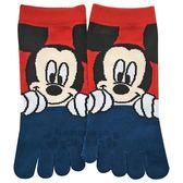 〔小禮堂〕迪士尼 米奇 成人五指襪《藍紅..大臉》23-25cm.短襪.棉襪 4549204-30608