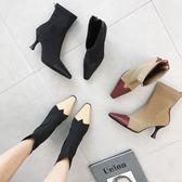 YAHOO618◮彈力襪子靴2019春中跟小香風短靴 拼色尖頭裸靴 高跟靴子 韓趣優品☌