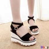 【Bbay】 楔型涼鞋 坡跟魚嘴鞋 羅馬涼鞋 鬆糕 厚底 高跟鞋