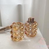 創意筆筒水晶化妝刷桶裝飾透明玻璃北歐收納書桌面簡約擺件【少女顏究院】
