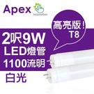 APEX  T8 超廣角T8T8T8LED燈管2呎9W(白光)-2入 全館免運