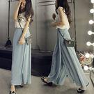 SISI【P6049】超顯瘦優雅飄逸百搭百褶寬管褲不對稱高腰雪紡長裙褲裙