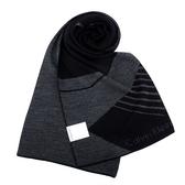 Calvin Klein CK新款斜紋圖騰雙色LOGO圍巾(黑色)103211