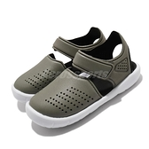 adidas 涼拖鞋 Fortaswim Stripes I 綠 白 童鞋 小童鞋 魔鬼氈 拖鞋 【ACS】 FW6041