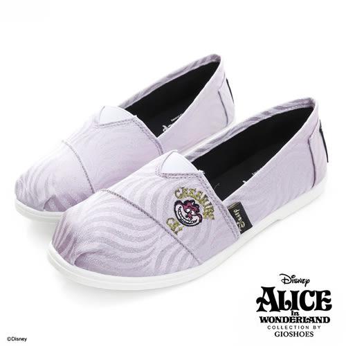 Disney 奇幻魅力 笑臉貓亮粉波紋懶人鞋-紫