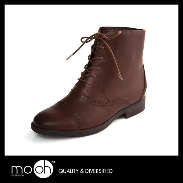 歐美復古擦色雕花低跟馬丁靴 真皮綁帶圓頭短靴 mo.oh (歐美鞋款)