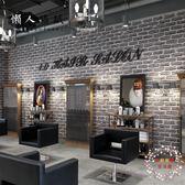 復古懷舊仿磚紋磚塊墻紙3d立體灰色磚頭理發店餐廳咖啡廳裝飾壁紙