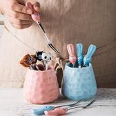 創意卡通陶瓷柄不銹鋼水果叉家用水果簽插時尚甜品叉子蛋糕叉套裝   LannaS