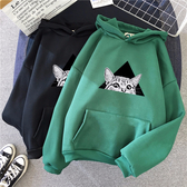 出清188 韓國學院風連帽三角貓印花寬鬆T恤套頭長袖上衣