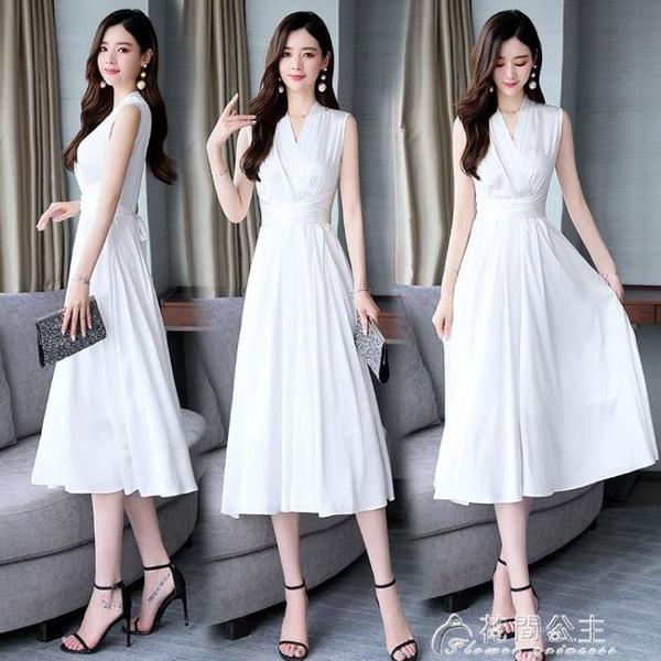 無袖洋裝無袖連身裙新款夏裝韓版修身收腰氣質有女人味的裙子顯瘦長裙 快速出貨
