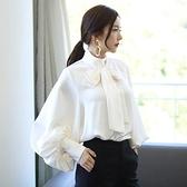 歐媛韓版 燈籠袖韓國襯衫 女年秋裝新款女裝女士白色襯衣秋季雪紡衫上衣