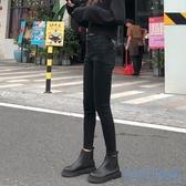 緊身牛仔褲 牛仔褲女2020冬季新款高腰加絨灰色正韓學生黑色緊身小腳褲