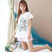 姚花妃睡衣女夏季薄款純棉短袖短褲夏天學生女韓版家居服兩件套裝   圖拉斯3C百貨