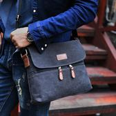 公文包單肩包青年帆布斜挎包休閒韓版背包時尚橫款男包包 年貨必備 免運直出