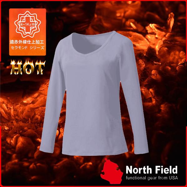 【North Field美國 女 V領遠外線內衣《鈦灰》】保暖衣/發熱衣/膠原蛋白/吸濕排汗/親膚/第二層肌膚