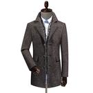 毛呢外套-羊毛圍巾領單排扣保暖中長款男大衣2色73yu8【巴黎精品】