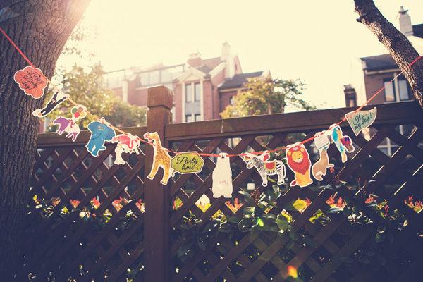 【韓風童品】熱帶雨林動物紙質彩旗 裝飾彩旗掛飾 拍攝背景裝飾旗  生日拍照道具佈置