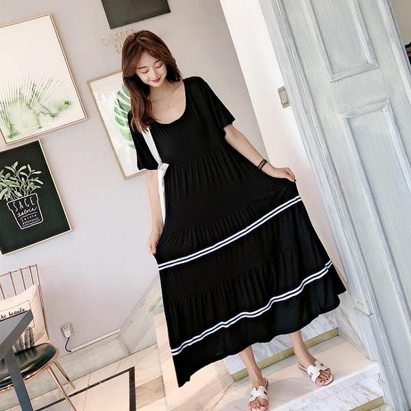 莫代爾洋裝 莫代爾長裙新款女夏季寬鬆正韓連身裙大碼打底短袖休閒大擺裙-Ballet朵朵