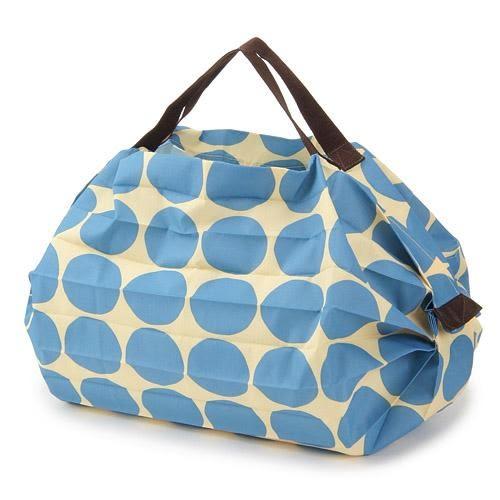 日本 MARNA Shupatto 藍色水玉輕量口袋包/環保購物袋/耐重/快速摺疊收納-正版