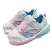 Skechers 休閒鞋 S Lights-Fusion Flash 銀 紫 童鞋 中童鞋 閃燈大底 運動鞋 【PUMP306】 302043LSLLV