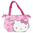小禮堂 Hello Kitty 橫式皮質保冷便當袋 保冷提袋 野餐袋 手提袋 (粉 大臉) 4713218-19104