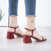 明星同款涼鞋女2020新款夏季韓版百搭仙女風一字扣帶粗高跟羅馬鞋名品匯