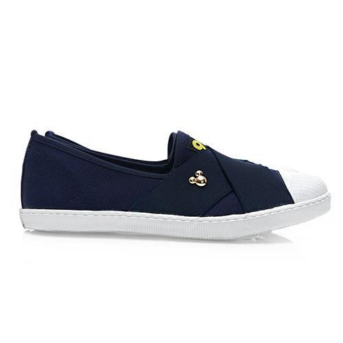 Disney 彈性交叉 繃帶懶人鞋-藍(DW5137藍)